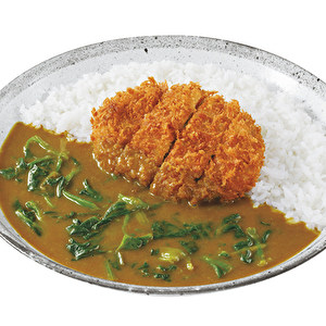 Hand-made Kagoshima Kuro-buta minced meat and cabbage cutlet curry with spinach/鹿児島黒豚キャベツメンチカツ+ほうれん草