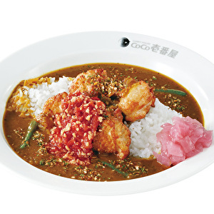 Chicken spicy curry with ripe cut tomato with garlic/チキンスパイスカレー弁当+トマトガーリック