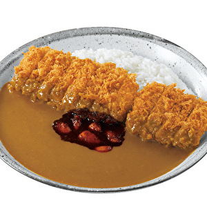 Hand-made Pork fillet Hirekatsu (deluxe) with delicious and spicy garlic/DX手仕込豚ヒレ勝つカレー弁当+旨辛にんにく